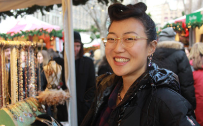 Baumnara Cho works a stall in Union Square