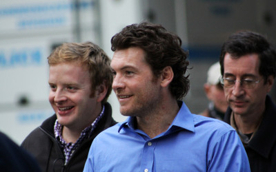 Sam Worthington during filming of the movie Man on a Ledge